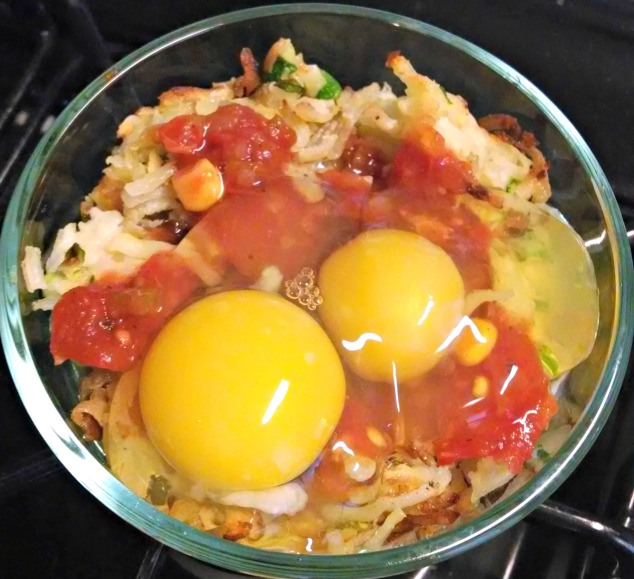 Bowl of Potos with Salsa and Egg